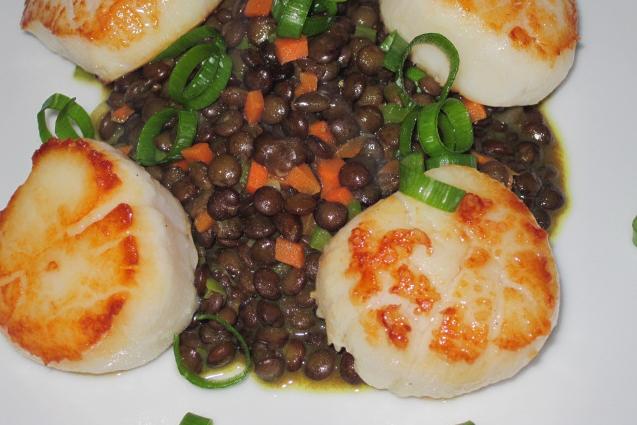 Scallops-lentils